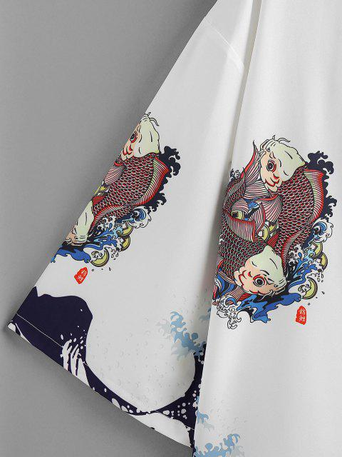 women ZAFUL Koi Fish Ocean Waves Print Kimono Cardigan - WHITE L Mobile