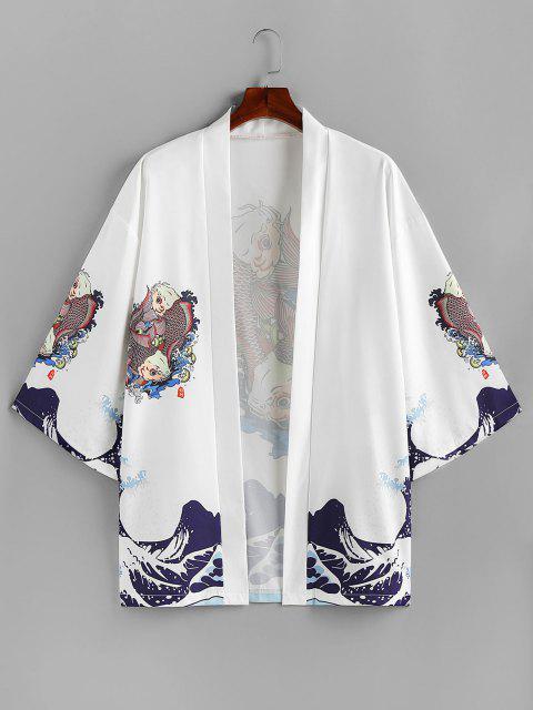 shop ZAFUL Koi Fish Ocean Waves Print Kimono Cardigan - WHITE XL Mobile