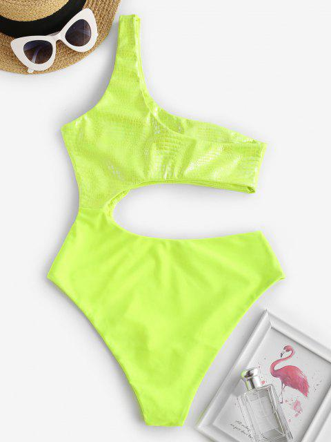 outfits ZAFUL Neon Cutout One Shoulder Disco Swimsuit - CHARTREUSE M Mobile