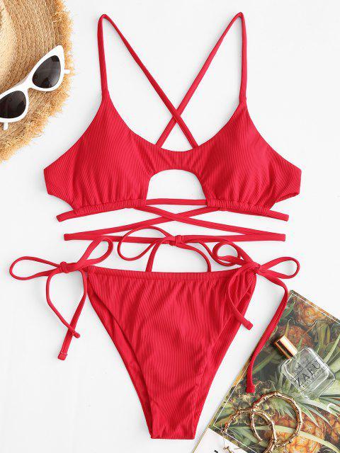 best ZAFUL Ribbed Wrap-around Underboob Tanga Bikini Swimwear - RED L Mobile