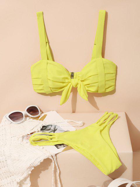 lady ZAFUL Pleated Braided Strappy Bikini Swimsuit - YELLOW M Mobile