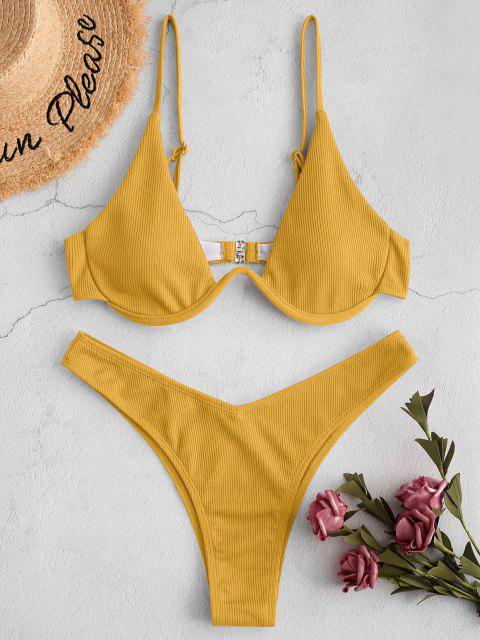 ZAFUL Bikini Badebekleidung mit Hohem Bein und Rippen - Goldgelb S Mobile
