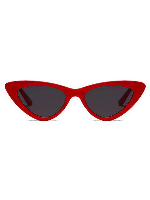 women's Retro Triangle Frame Slim Sunglasses - RED  Mobile