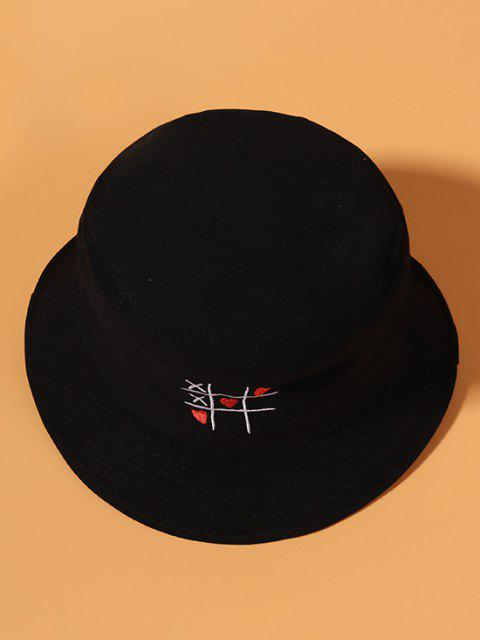 shops Heart Link Game Embroidered Cotton Bucket Hat - BLACK  Mobile