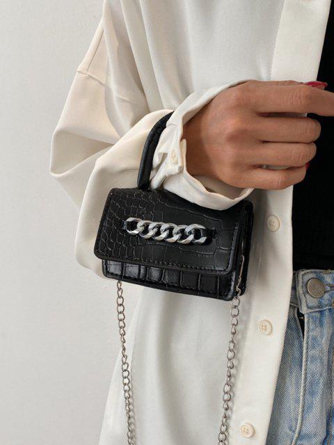 Stückige Kette Verschönerte Geprägte Mini Umhängetasche - Schwarz  Mobile