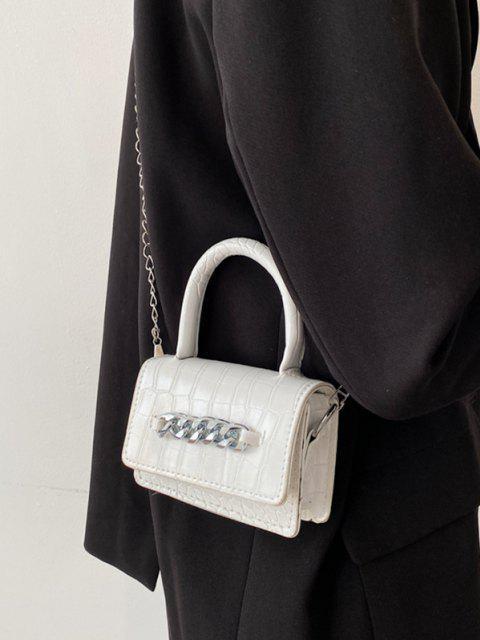 Mini Sac à Bandoulière Embelli de Chaîne Gaufré Epais - Blanc  Mobile