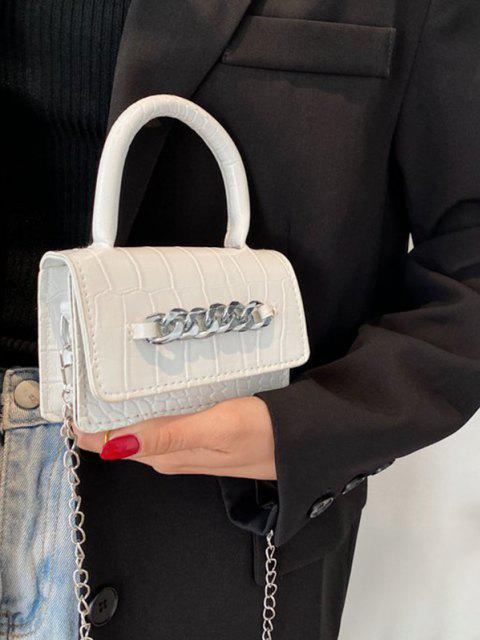 Chunky Chain Embellished Embossed Mini Crossbody Bag - أبيض  Mobile