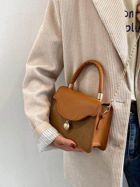 outfit Golden Ball Embellished Flap Chain Crossbody Bag - LIGHT BROWN  Mobile