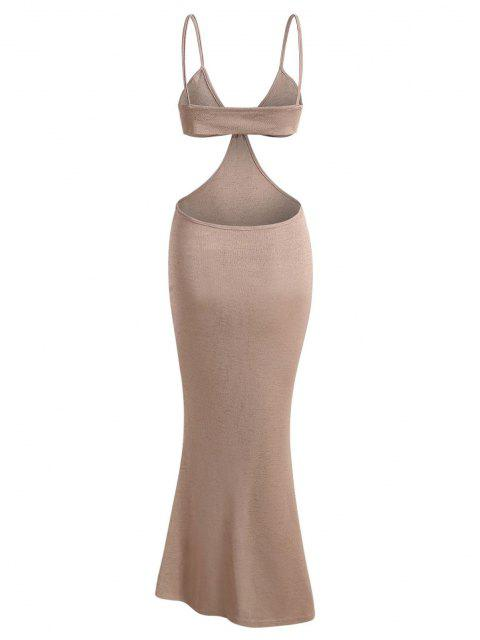 womens Spaghetti Strap Cutout Knit Maxi Mermaid Dress - LIGHT COFFEE M Mobile