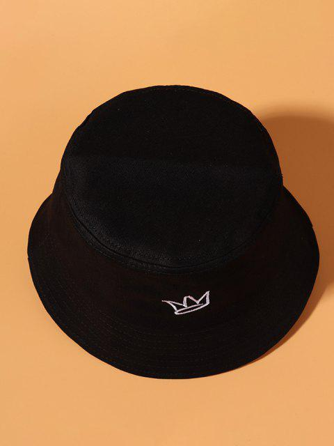 outfit Minimalistic Crown Embroidered Causal Bucket Hat - BLACK  Mobile