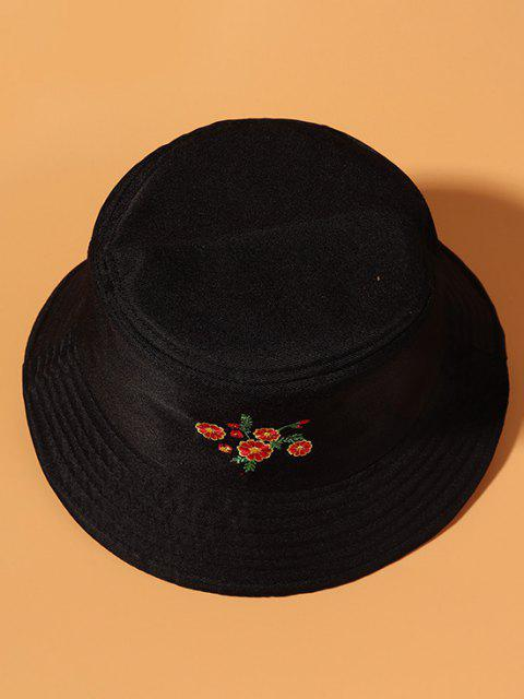 Gestickter Sonnenschutz Lässiges Bucket Hut mit Blumenmuster - Schwarz  Mobile