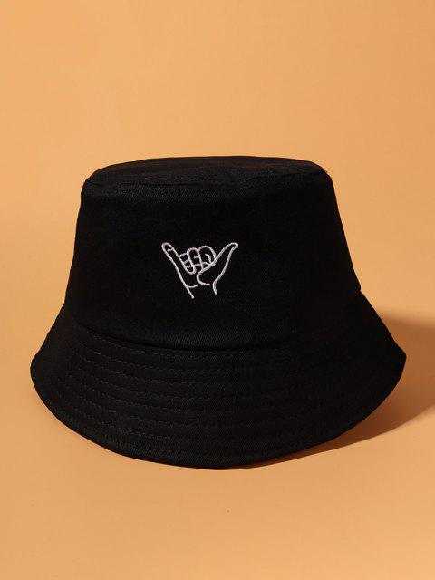 Embroidery Gesture Bucket Hat - أسود  Mobile