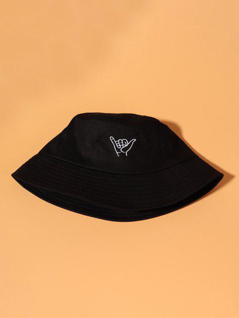 刺繍ジッパーバケット帽子 - ブラック  Mobile