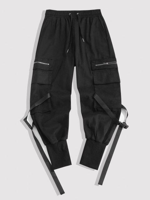 Mehrere Taschen Reißverschluss Breite Füße Cargo Hose - Schwarz M Mobile