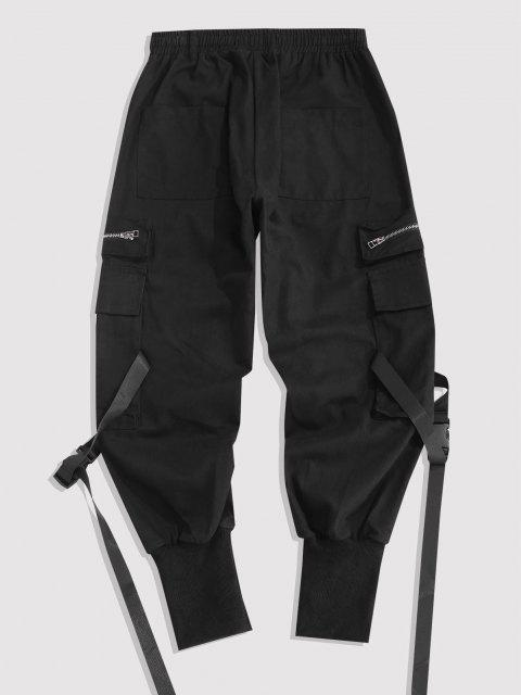 chic Multi-pocket Zipper Beam Feet Cargo Pants - BLACK 3XL Mobile