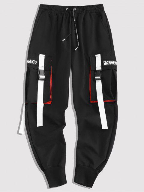 latest Letter Contrasting Strap Cargo Pants - BLACK S Mobile