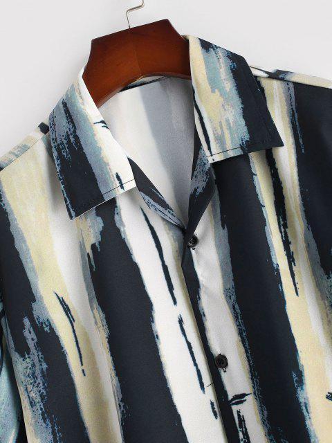hot Vintage Stripe Painting Short Sleeve Shirt - TAN XL Mobile