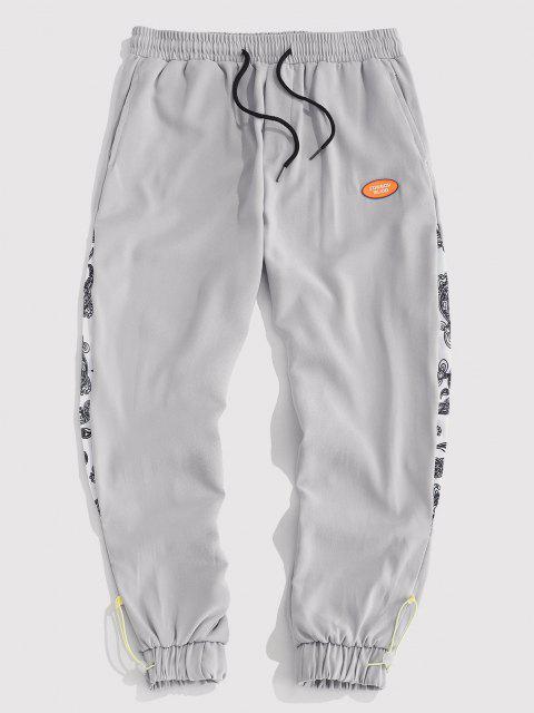 Paisley Patchwork Toggle Beam Füße Hose - Grau XL Mobile