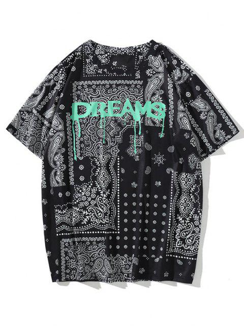 shops DREAMS Paisley Flower Bandana Butterfly T-shirt - BLACK L Mobile