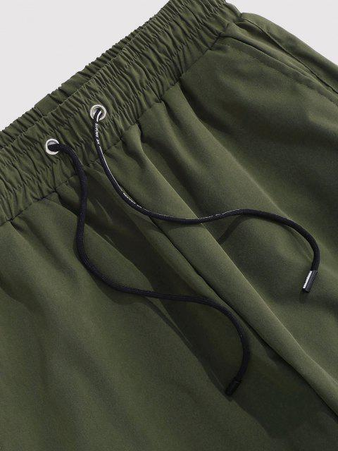 shops Letter Patched Cargo Pants - DEEP GREEN M Mobile