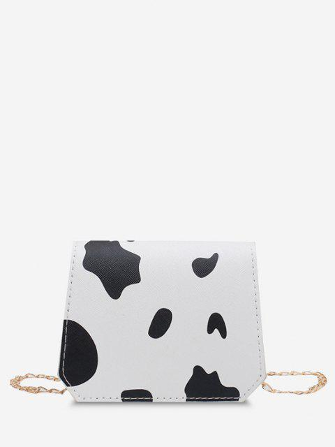 Cow Print Grainy Flap Mini Crossbody Bag - أسود  Mobile