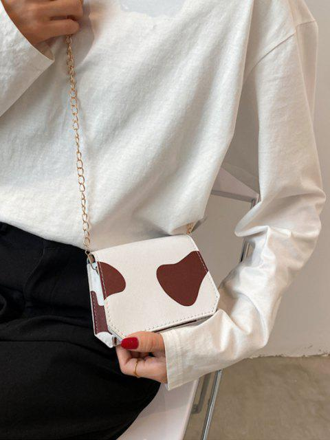 online Cow Print Grainy Flap Mini Crossbody Bag - LIGHT COFFEE  Mobile