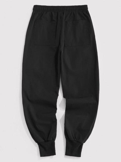 womens Contrasting Strap Multi-pocket Cargo Pants - BLACK L Mobile