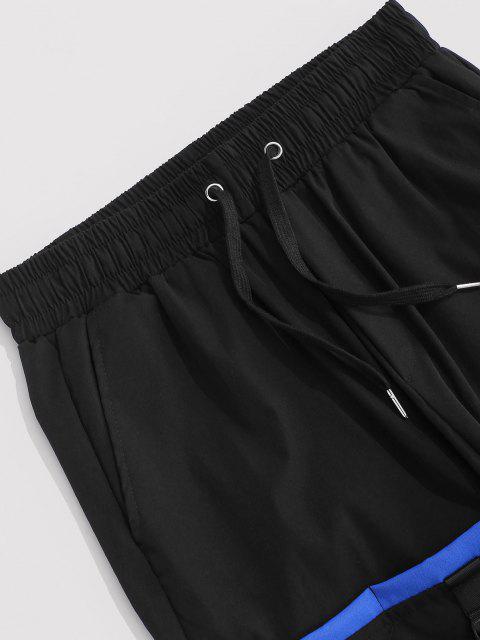 Kontrastfarbene Cargo Hose mit Mehreren Taschen - Schwarz M Mobile