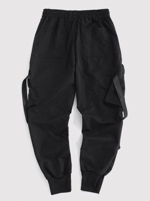 fancy Letter Patch Strap Multi-pocket Cargo Pants - BLACK L Mobile