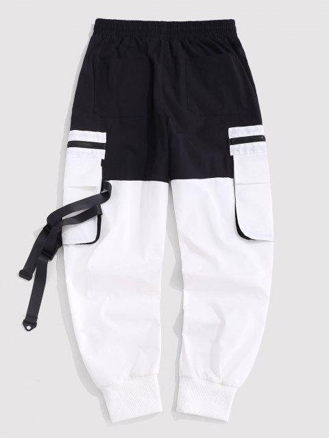 unique Multi-pocket Colorblock Cargo Pants - BLACK M Mobile