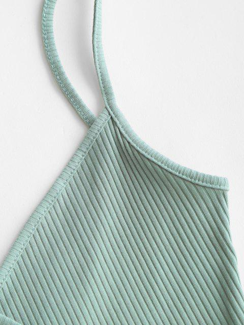 womens Ribbed Straps Wrap Crop Cami Top - GREEN S Mobile