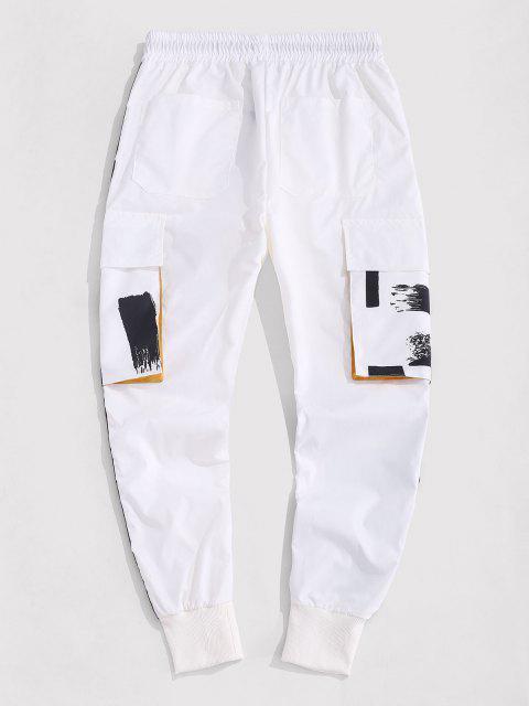 ladies Vintage Print Contrasting Cargo Pants - WHITE M Mobile