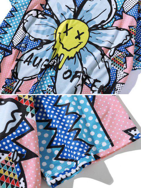 T-Shirt Floreale con Maniche Lunghe - Blu Cobalto XXL Mobile