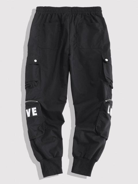 outfit Embroidery Love Snap Button Cargo Pants - BLACK M Mobile