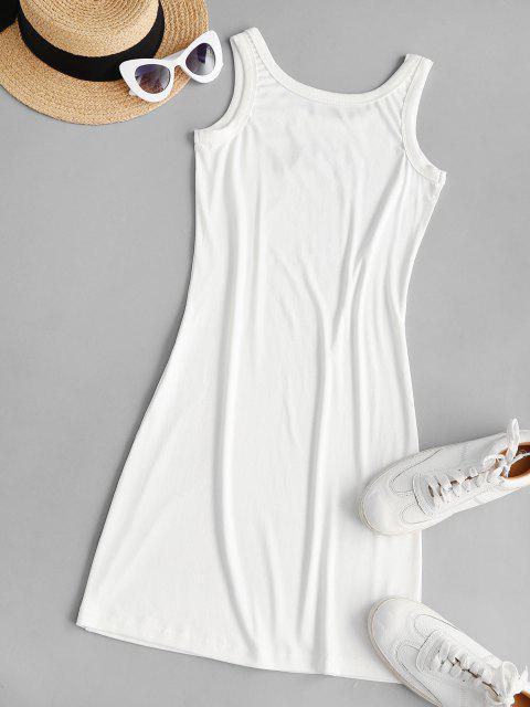 lady Embroidered Bodycon Tank Mini Dress - WHITE M Mobile