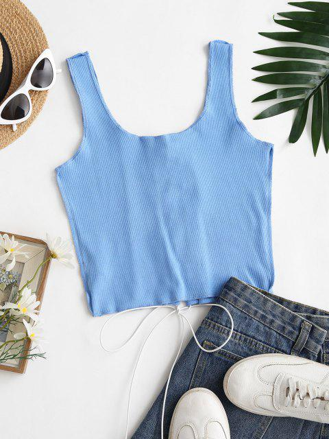 lady Ribbed Overlocking Lace-up Crop Tank Top - LIGHT BLUE S Mobile