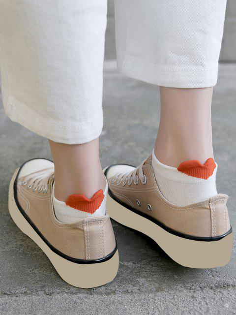 shop 2 Pairs Heart Anti-Chafe Cotton Ankle Socks - WHITE  Mobile