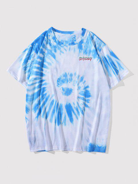 Letter Tie Dye Short Sleeve T-shirt - الكريستال الأزرق XL Mobile