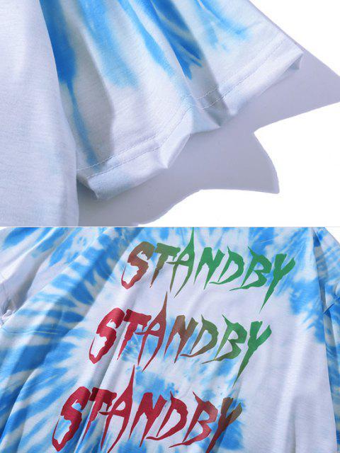 new Letter Tie Dye Short Sleeve T-shirt - CRYSTAL BLUE XL Mobile