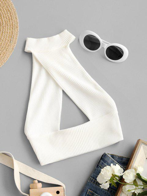 fashion Halter Rib-knit Cutout Backless Crop Top - WHITE M Mobile