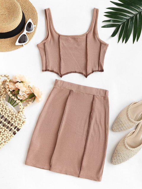 latest Overlock Seam Ribbed Corset Style Skirt Set - LIGHT COFFEE M Mobile