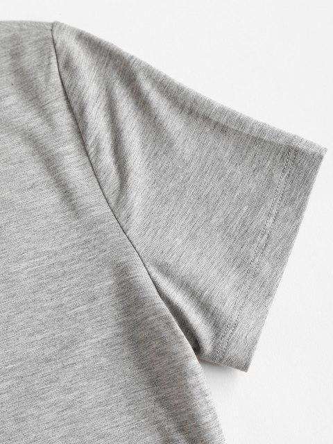 affordable Basic Cropped Curved Hem Tee - GRAY S Mobile