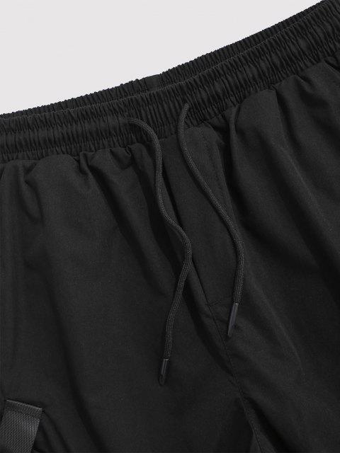 sale Multi-Pocket Strap Drawstring Cargo Shorts - BLACK 4XL Mobile