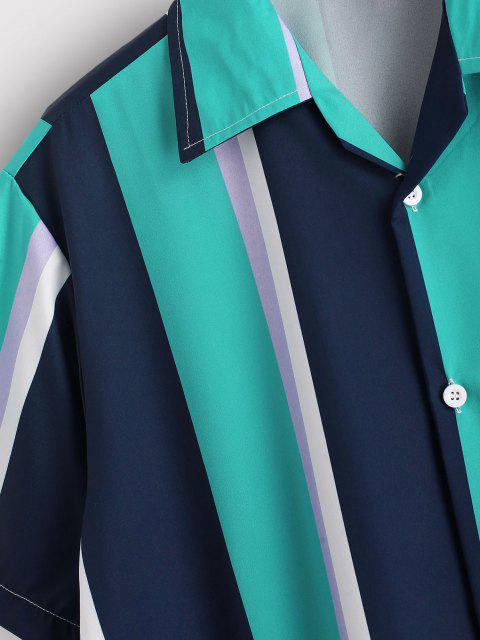 affordable Contrasting Stripe Pattern Short Sleeve Shirt - MEDIUM TURQUOISE L Mobile