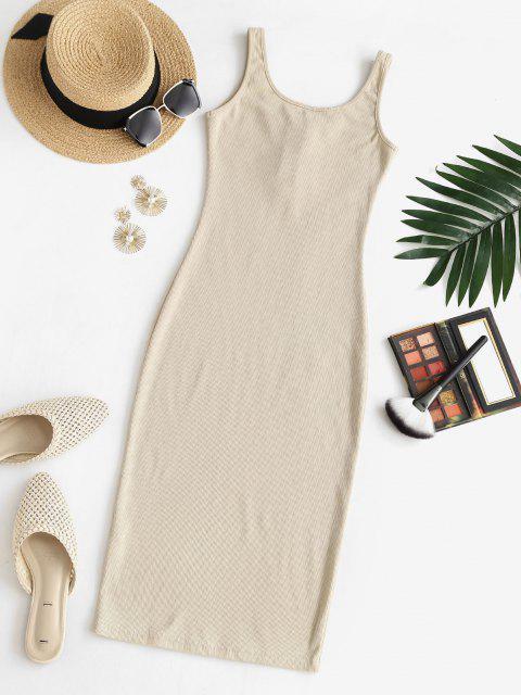 Vestido de Chaleco Ceñido con Medio Botón - café luz S Mobile