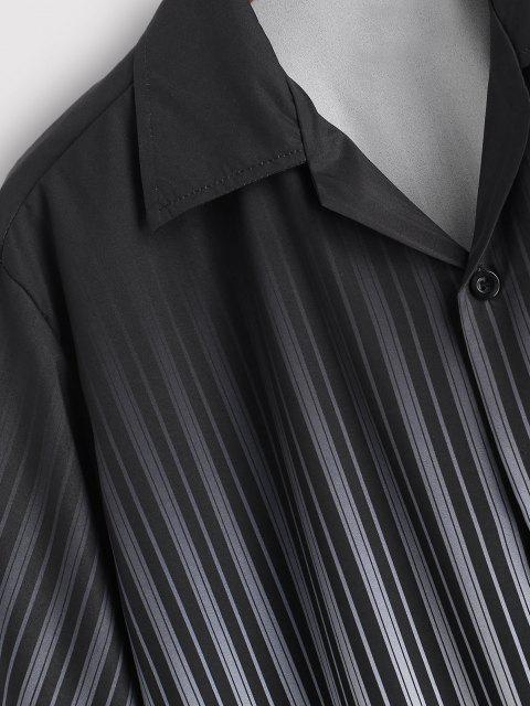 Ombre Streifen Kurzarm Hemd - Schwarz XXL Mobile