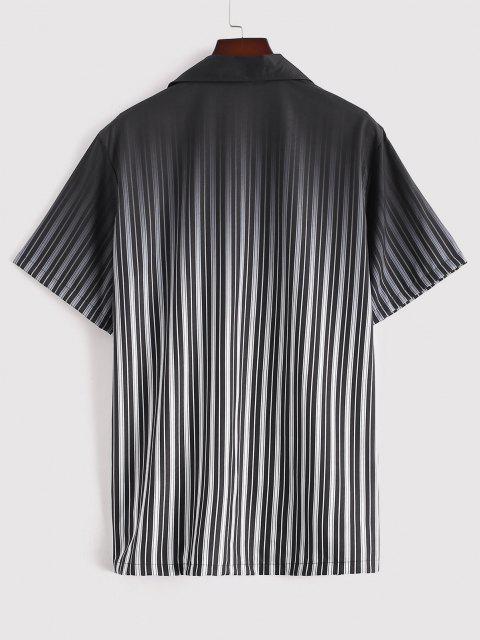outfits Ombre Stripe Short Sleeve Shirt - BLACK XL Mobile