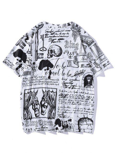 hot Vintage Allover Print Short Sleeve T-shirt - WHITE XXL Mobile