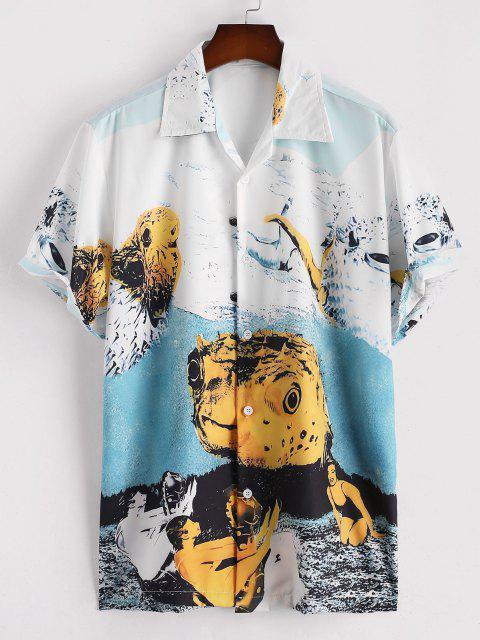 Figur Tier Kurzarm Hemd - Blauer Efeu L Mobile