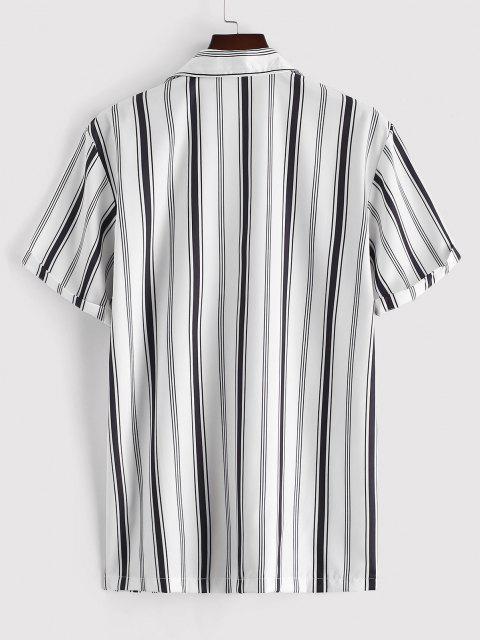 new Balanced Stripe Short Sleeve Notched Collar Shirt - WHITE M Mobile